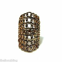 Chunky Style Gothic Hip Hop Gold Web Chain Stretch Bling Ring