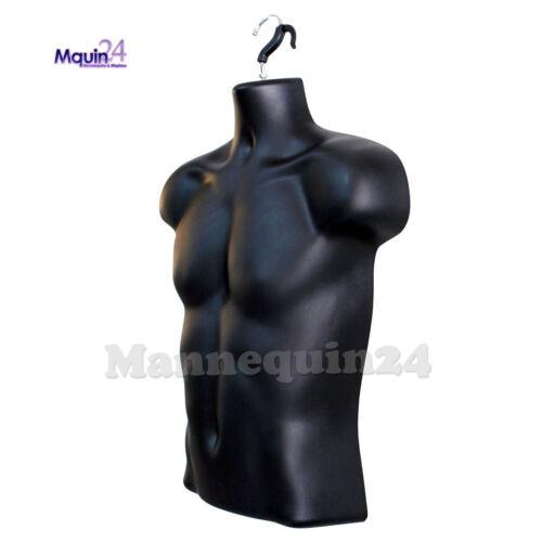 1 STAND ; MEN CLOTHING DRESS FORMS 3 PCS BLACK MANNEQUINS MALE TORSOS