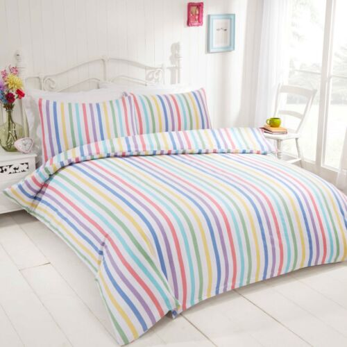 Rapport Candy Stripe Duvet Cover Set Multi 100/% Brushed Cotton S//D//K//SK Free P/&P