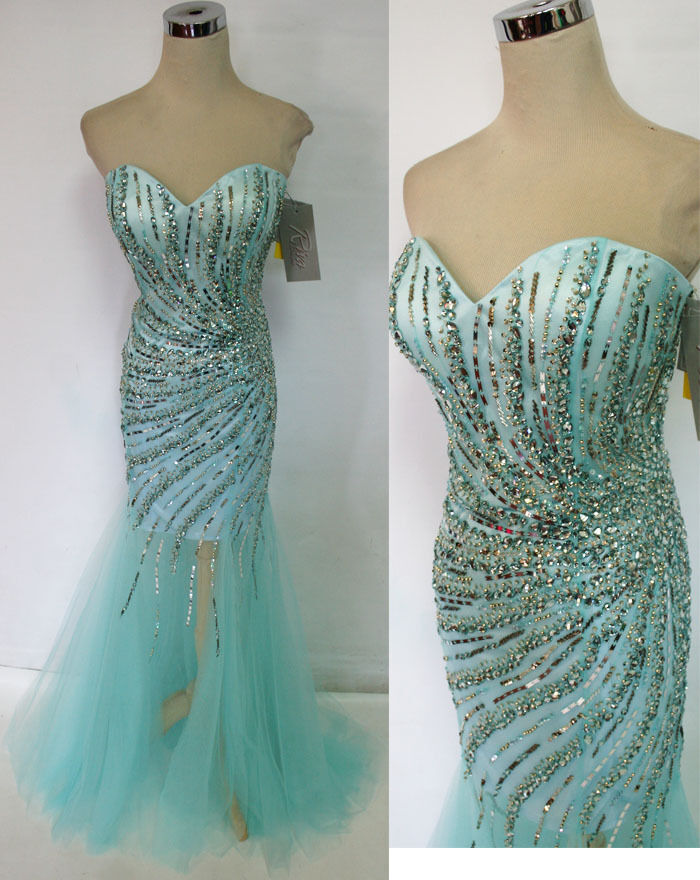 RIVA DESIGNS R9784 ICE blueE blueE blueE  458 Formal Prom Gown 10 e88b56