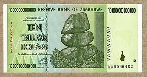 UNC PAPER CURRENCY ZIMBABWE 10 TRILLION DOLLAR BANKNOTE