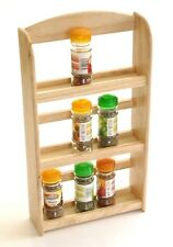 New 3 Tier Hevea Wood Wooden Herb Spice Rack Jar Holder Stand Wall Mounted Herbs