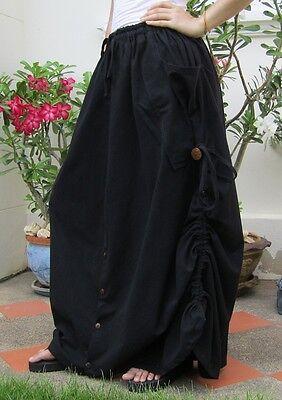 Vintage Bohemian Cotton Long Maxi Skirt Trousers Yoga Pants Hippie Gypsy Boho