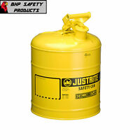 Justrite 5 Gallon Type 1 Flammable Storage Safety Gas Can Yellow 7150200