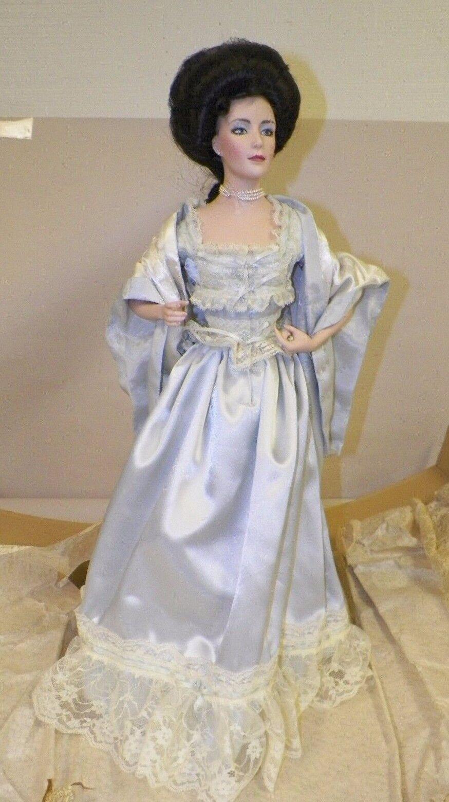 Franklin Mint Victoriano Boudior Gibson Girl Doll azul noche ropa y caja del espejo