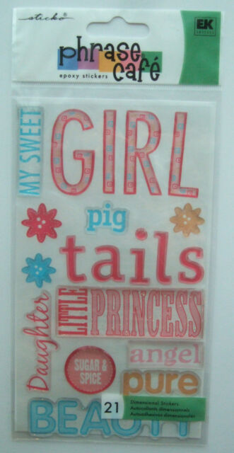 ~GIRL~ Phrase Cafe Sticko Epoxy Stickers; princess angel sweet daughter angel