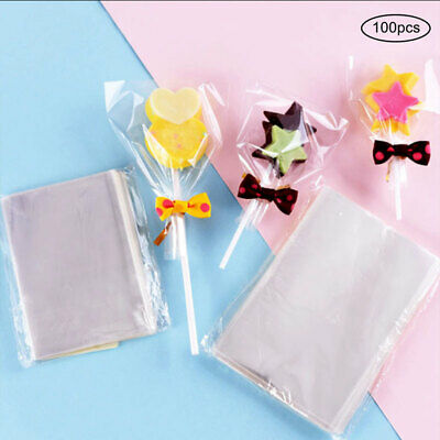 100x Clear Cellophane Cookies Craft Wedding Birthday Candy Party Gift Bag LIN