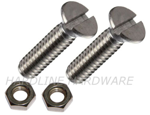 2 PACK M10 X 60 MACHINE SCREWS SLOTTED CSK WITH NUTS 10mm X 60mm ZINC PLATED