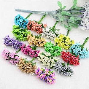 Artificial Mini Bouquet Mulberry Flowers Stamen Stem Wedding Crafts - Manualidades-con-flores-artificiales