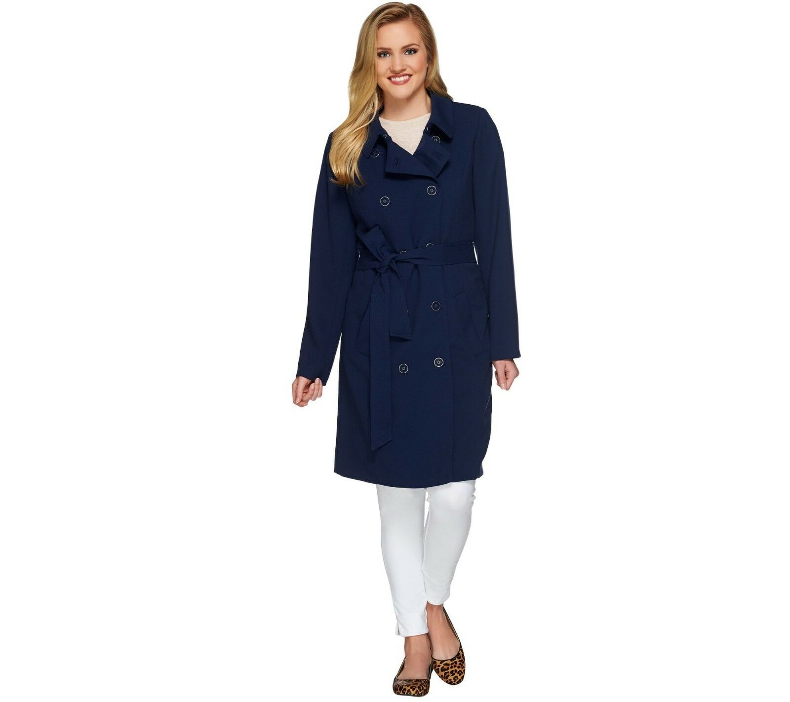 Isaac Mizrahi Women's Water Repellant Soft Trench Coat Dark Navy Size 14 QVC