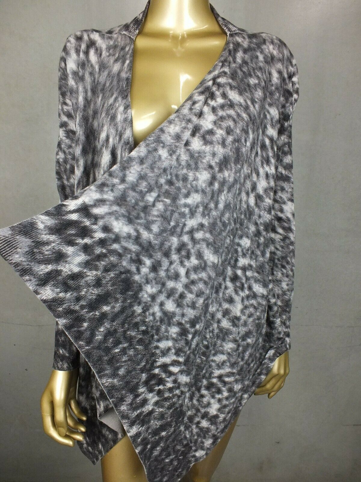 SPORTSCRAFT CARDIGAN 100% WOOL LEOPARD PRINT TOP JUMPER SWEATER - X LARGE