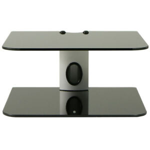 Dual-Glass-2-Shelf-Wall-Mount-Bracket-Holder-TV-Component-Cable-Box-DVD-VCD
