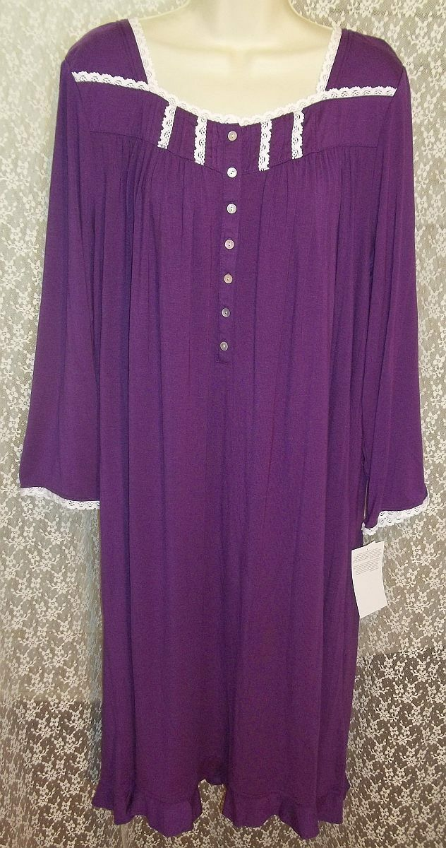 2X EILEEN WEST LONG Modal Nightgown Long Sleeve Gown 45  Plum w White Lace New