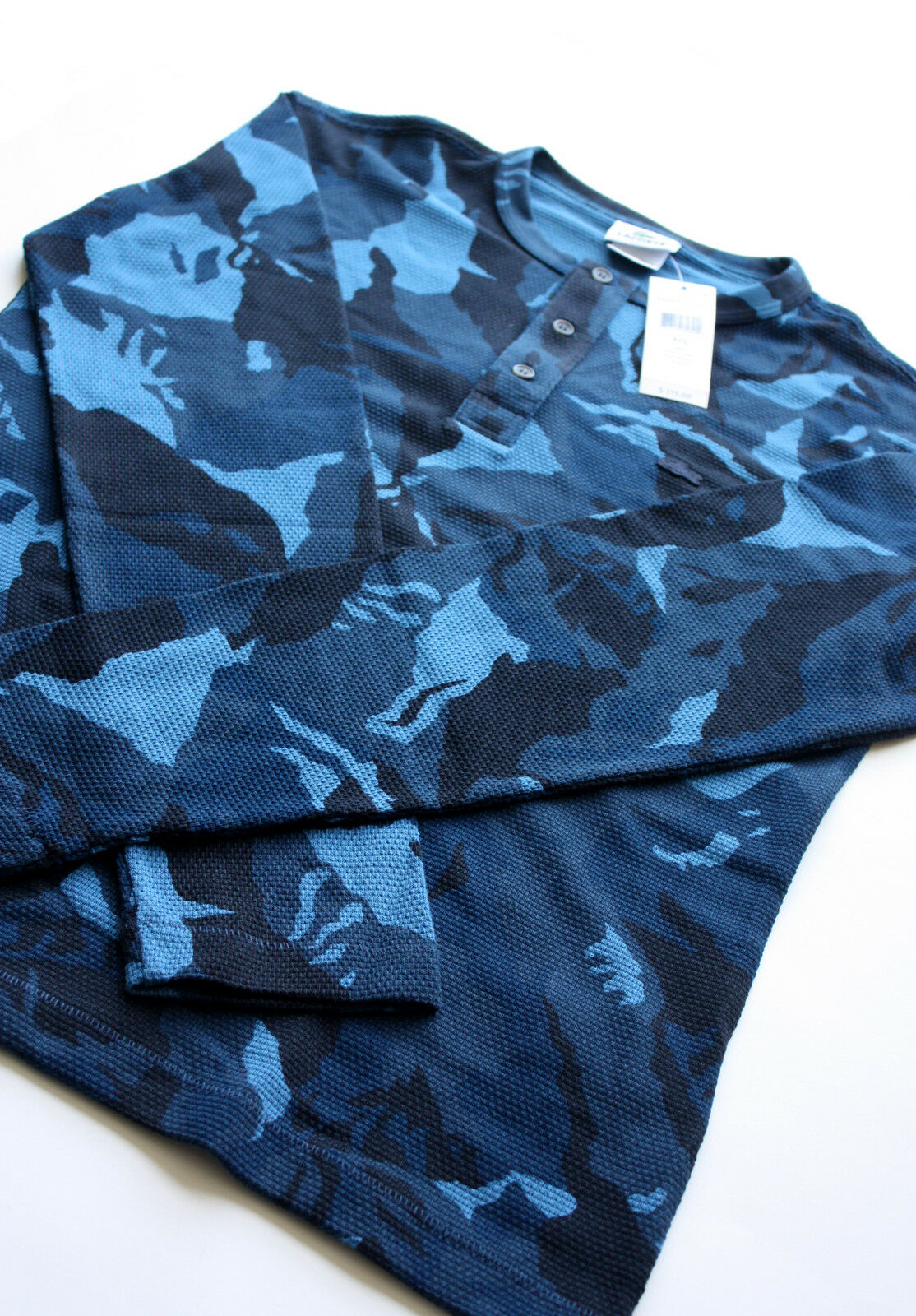 LACOSTE bluee Camo Button-Up Shirt NEW tag Men's size 4 Rare polo sweater