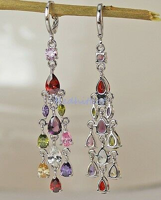 18K White Gold Filled - 2.6'' Waterdrop Amethyst Morganite Party Lady Earrings