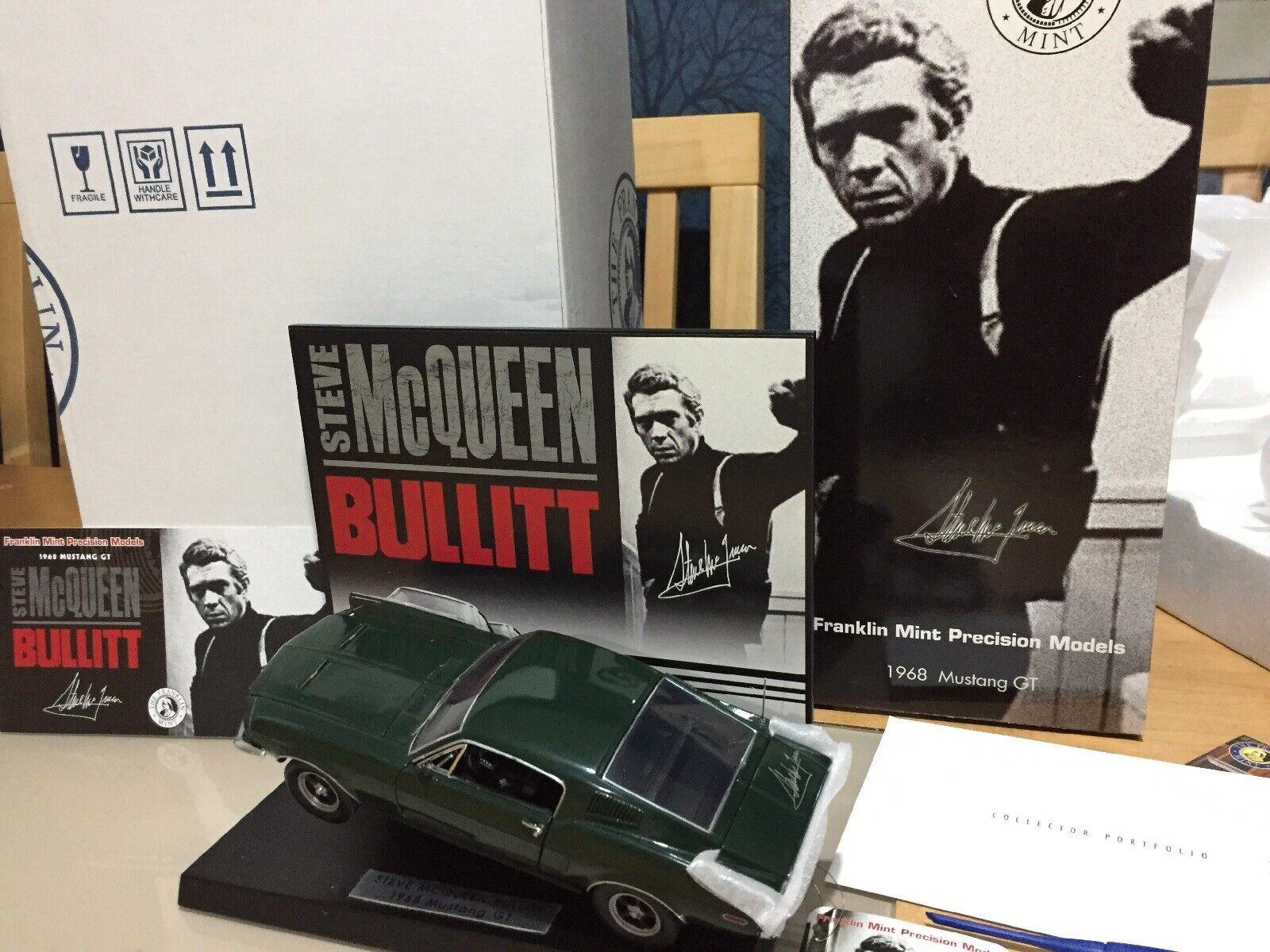 Danbury  Franklin Mint Bullit Mustang Gt 1 24 LT EDT firma Steve Mcqueen