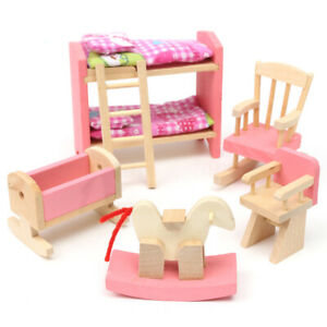 4Pcs Wooden Bathroom Furniture Dolls House Miniature Child Play Toys Gifts Set