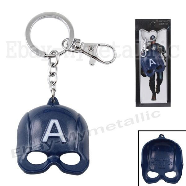 New Super Hero Captain America Helmet Mask Metal Pendant Key Ring Chain NIB