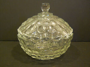 PRESSED-GLASS-CANDY-DISH-W-LID-COVERED-BOWL-CLEAR-DECORATIVE