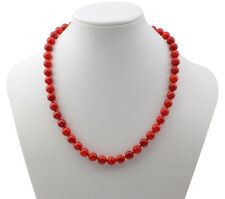 Stunning 8mm Natural Red Coral Necklace 46cm