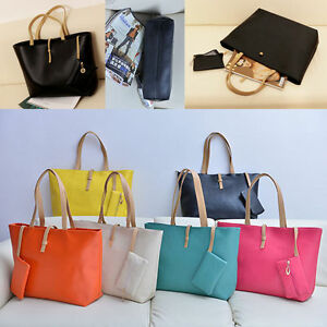 Women-Ladies-Handbag-Set-2pcs-Leather-Tote-Purse-Messenger-Clutch-Shopping-Bags