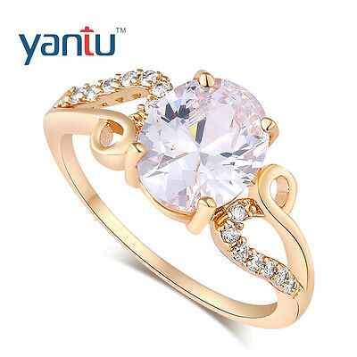 Luxusmode 18K Vergoldet Zirkonia Kristall Verlobung Hochzeit Ring Schmuck