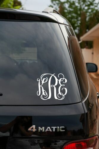 Small Wall Decal Monogram Swirly Vine Vinyl Decal 3 Letter Car Decal