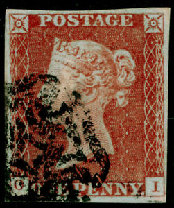 SG8-1d-red-brown-PLATE-37-FINE-USED-Cat-160-GREENOCK-MX-4-MARGINS