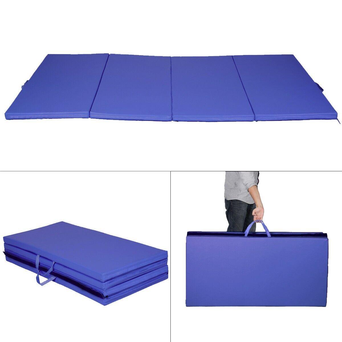 Turnmatte Kinderturnmatte Bodenmatte weichboden Fitnessmatte 4 x Klappbar Blau