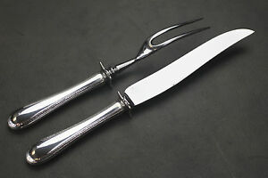 """TUTTLE """"FEATHER EDGE"""" STERLING SILVER HANDLE CARVING SET , 2 PCS"""