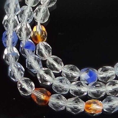 50 Firepolish Czech Glass Faceted Round Beads Blue 4mm Iris