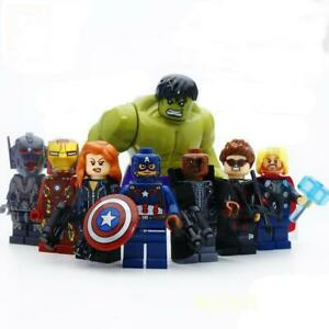 8pcs/lot Avengers Hulk Thor Captain Iron-man Black Widow Building Blocks Toy