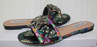 Steve Madden Pomona Slide Sandals Black Multi Jewel Embellished New With Box