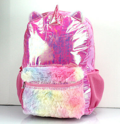 """Iridescent Pink UNICORN Large 17/"""" BACKPACK Bag Rainbow Furry Accents"""