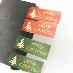 100Pcs Merry Christmas Package Seal Sticker Christmas Tree Gift Label Sticker BS