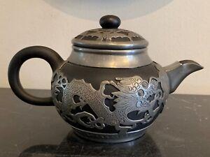 Chinese Wen Hua Shun Pewter Dragon Decorated Ceramic Teapot