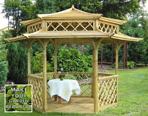 Garden wooden gazebo stunning japanese pagoda hexagonal for Japanese garden structures wood