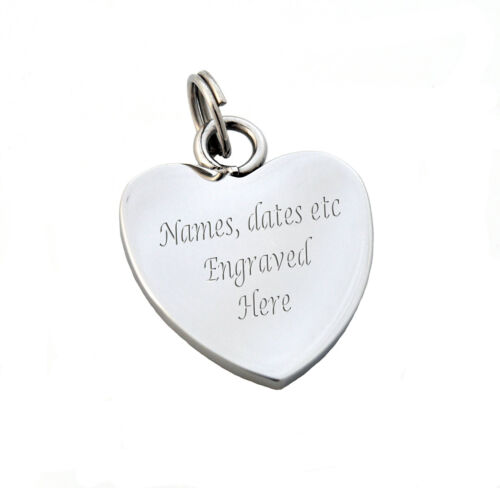 Personalised Stainless Steel Heart Charm Any text engraved free both sides.