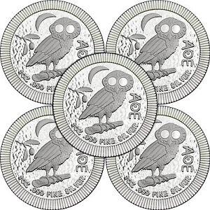 2019 Niue Silver Owl of Athena Stackables 1oz .999 Silver Coin 5pc