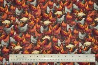 1/2 yard cotton quilt fabric Chickens Roosters Hens Cranston farm animals sewing