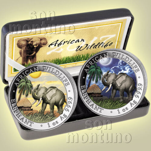 COA # 5 2017 Somalian ELEPHANT DAY & NIGHT Silver 2 Coin Set AFRICAN WILDLIFE