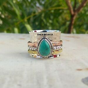 Turquoise-Ring-925-Sterling-Silver-Spinner-Ring-Meditation-Statement-Jewelry-A30