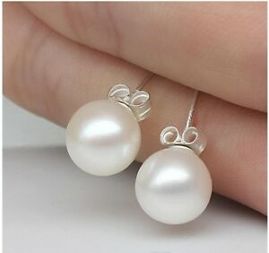 Image Is Loading 6mm 8mm Authentic Natural Pearl Earrings Stud 925