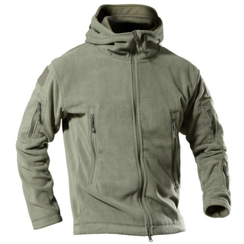 Men Fleece Zip Jackets Military Outdoor Winter Coat Tactical Army Casual Outwear