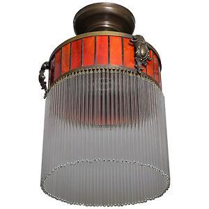 Beleuchtung Art Deco Hängelampe Lampe Deckenlampe Glas Leuchte Messing Deckenleuchte Jugends Gute WäRmeerhaltung Möbel & Wohnen