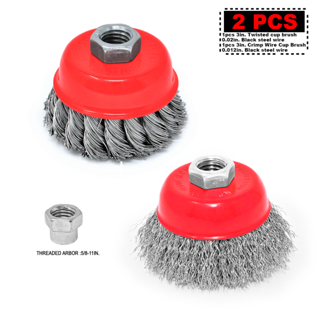 """10 Pieces 3/"""" Knotted Wire Cup Brush carbon steel with 5//8-11 Thread rust removal"""