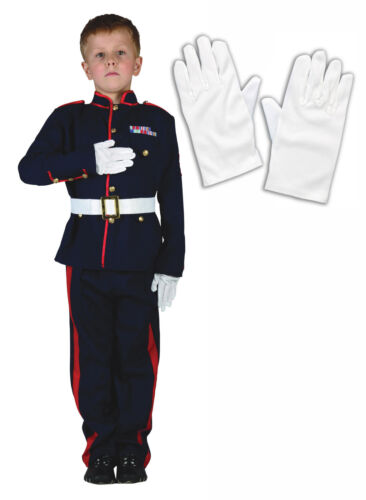 Boys Teen Ceremonial Soldier Army Officer Military Fancy Dress Costume + Gants afficher le titre d'origine