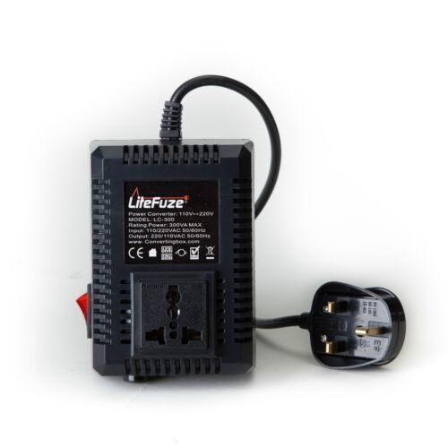 UK LiteFuze LC-300UK 300W Travel Voltage Converter Transformer Step Up//Down