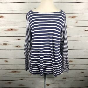 Vineyard Vines Navy Blue White Striped Top Long Sleeve Boat Neck Womens Size M