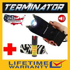 Terminator Max Power Police Stun Gun With Siren Flashlight And Zebra Pepper Spray